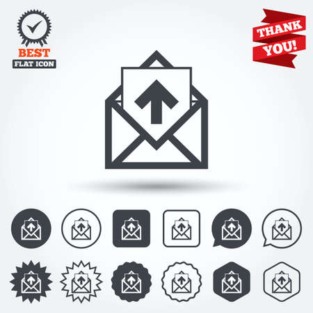 outgoing: Mail icon. Envelope symbol. Outgoing message sign. Mail navigation button. Circle, star, speech bubble and square buttons. Award medal with check mark. Thank you ribbon. Vector Illustration