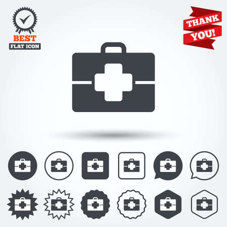 medical case: Medical case sign icon. Doctor symbol. Circle, star, speech bubble and square buttons. Award medal with check mark. Thank you ribbon. Vector Illustration