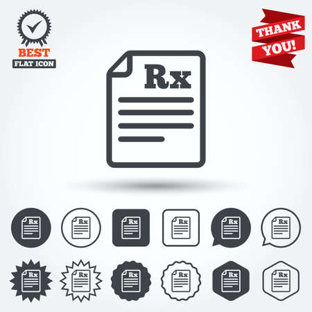 rx: Medical prescription Rx sign icon. Pharmacy or medicine symbol. Circle, star, speech bubble and square buttons. Award medal with check mark. Thank you ribbon. Vector
