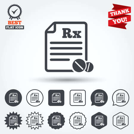 rx: Medical prescription Rx sign icon. Pharmacy or medicine symbol. With round tablets. Circle, star, speech bubble and square buttons. Award medal with check mark. Thank you ribbon. Vector Illustration