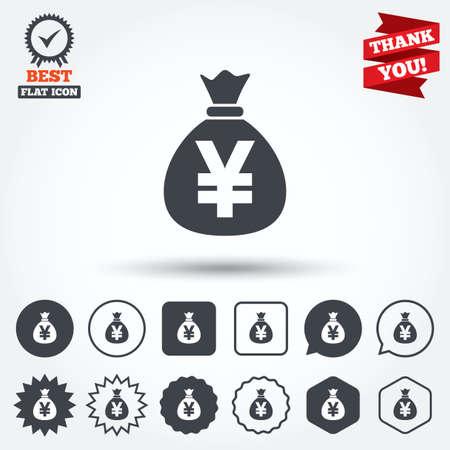 Money Bag Sign Icon Yen Jpy Currency Symbol Circle Star Speech