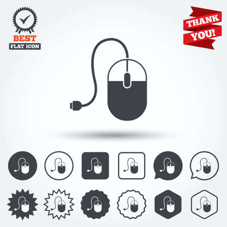 mouse cursor: Computer mouse sign icon. Optical with wheel symbol. Circle, star, speech bubble and square buttons. Award medal with check mark. Thank you ribbon. Vector Illustration