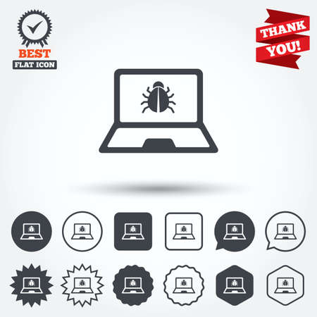 ultrabook: Laptop virus sign icon. Notebook software bug symbol. Circle, star, speech bubble and square buttons. Award medal with check mark. Thank you ribbon. Vector