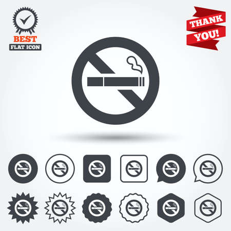 smoking cigarette: No Smoking sign icon. Quit smoking. Cigarette symbol. Circle, star, speech bubble and square buttons. Award medal with check mark. Thank you ribbon. Vector Illustration