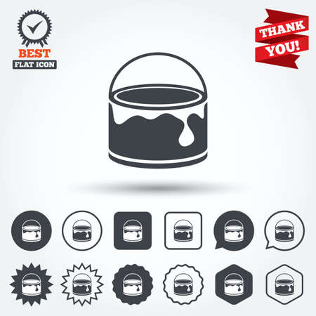 Bucket of paint icon. Painting works sign. Painter equipment. Circle, star, speech bubble and square buttons. Award medal with check mark. Thank you ribbon. Vector