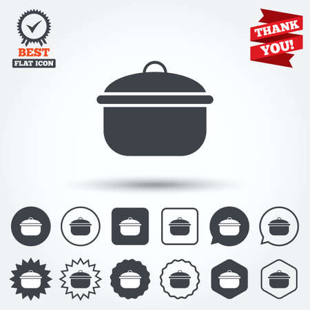 stew: Cooking pan sign icon. Boil or stew food symbol. Circle, star, speech bubble and square buttons. Award medal with check mark. Thank you ribbon. Vector