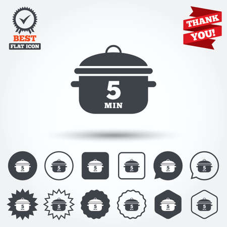 stew: Boil 5 minutes. Cooking pan sign icon. Stew food symbol. Circle, star, speech bubble and square buttons. Award medal with check mark. Thank you ribbon. Vector