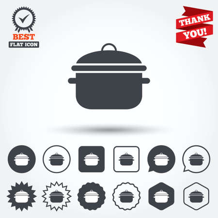 boil: Cooking pan sign icon. Boil or stew food symbol. Circle, star, speech bubble and square buttons. Award medal with check mark. Thank you ribbon. Vector