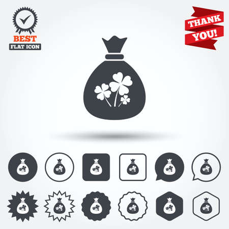clover buttons: Money bag with Clovers sign icon. Saint Patrick symbol. Circle, star, speech bubble and square buttons. Award medal with check mark. Thank you ribbon. Vector