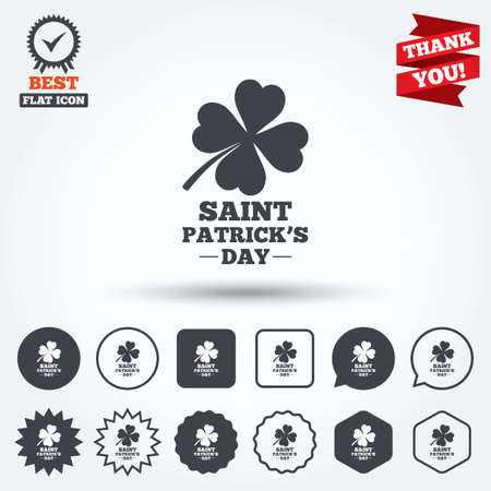 Clover with four leaves sign icon. Saint Patrick quatrefoil luck symbol. Circle, star, speech bubble and square buttons. Award medal with check mark. Thank you ribbon. Vector Vector