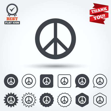 pacificist: Peace sign icon. Hope symbol. Antiwar sign. Circle, star, speech bubble and square buttons. Award medal with check mark. Thank you ribbon. Vector