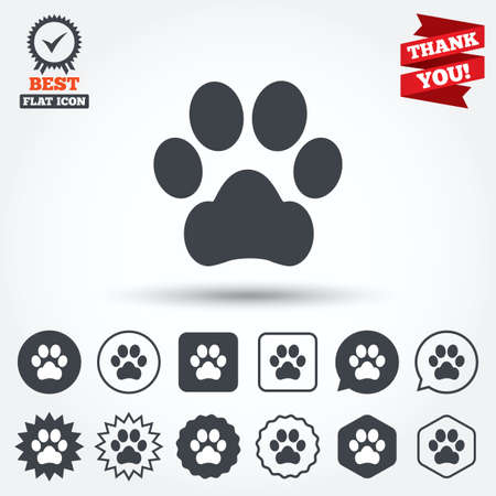 Dog paw sign icon. Pets symbol. Circle, star, speech bubble and square buttons. Award medal with check mark. Thank you ribbon. Vector