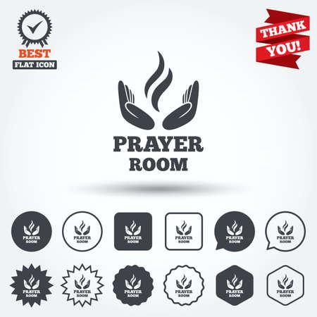 Prayer Room Sign Icon Religion Priest Faith Symbol Circle