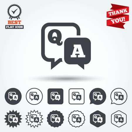 control de calidad: Pregunta icono de signo respuesta. Q & A de símbolos. Círculo, estrella, burbuja del discurso y los botones cuadrados. Medalla de la concesión con la marca de verificación. Gracias. Vector