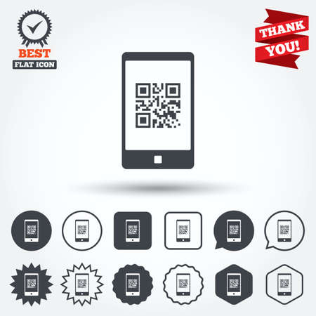 qrcode: Qr code sign icon. Scan code in smartphone symbol. Coded word - success! Circle, star, speech bubble and square buttons. Award medal with check mark. Thank you. Vector