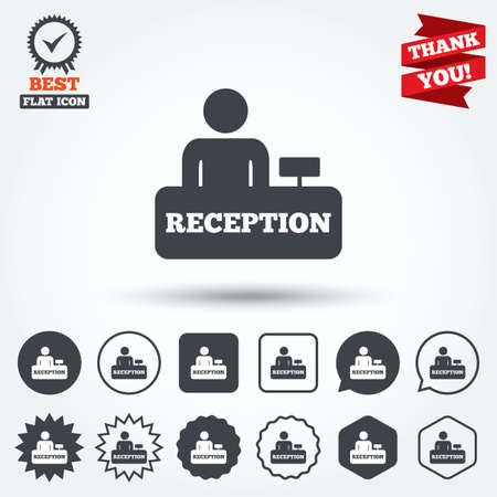 Reception sign icon. Hotel registration table with administrator symbol. Circle, star, speech bubble and square buttons. Award medal with check mark. Thank you. Vector