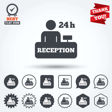 reception table: Reception sign icon. 24 hours Hotel registration table with administrator symbol. Circle, star, speech bubble and square buttons. Award medal with check mark. Thank you. Vector
