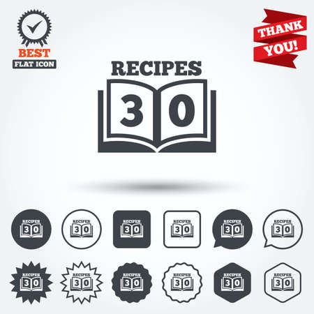 book mark: Cookbook sign icon. 30 Recipes book symbol. Circle, star, speech bubble and square buttons. Award medal with check mark. Thank you. Vector