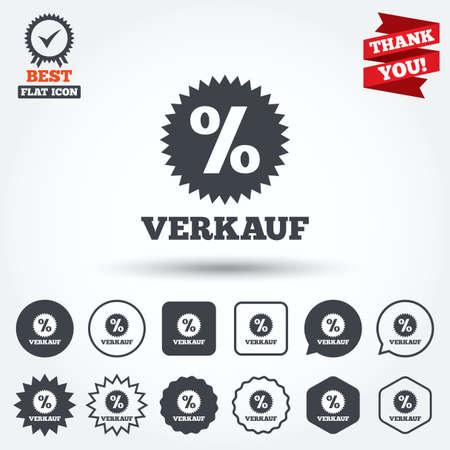 Verkauf Sale In German Sign Icon Star With Percentage Symbol