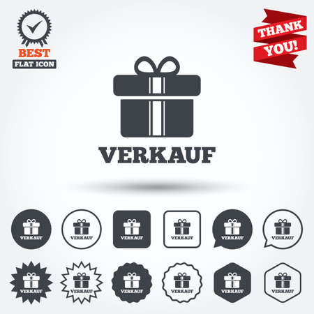 german mark: Verkauf - Sale in German sign icon. Gift box with ribbons symbol. Circle, star, speech bubble and square buttons. Award medal with check mark. Thank you. Vector