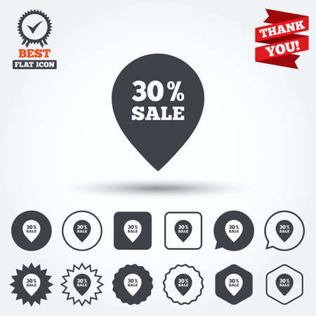 thirty percent off: 30% sale pointer tag sign icon. Discount symbol. Special offer label. Circle, star, speech bubble and square buttons. Award medal with check mark. Thank you. Vector