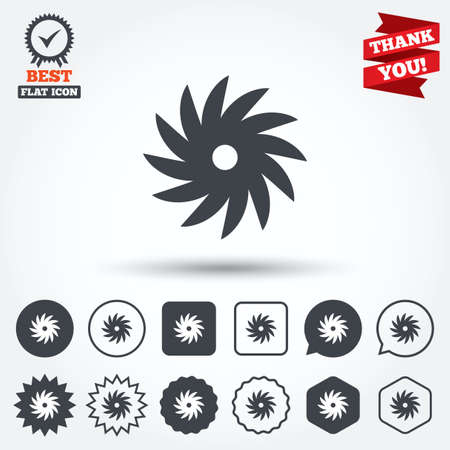 cutting blade: Saw circular wheel sign icon. Cutting blade symbol. Circle, star, speech bubble and square buttons. Award medal with check mark. Thank you. Vector