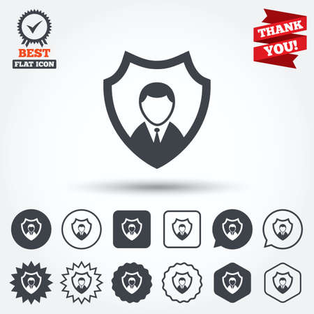 safe guard: Security agency sign icon. Shield protection symbol. Circle, star, speech bubble and square buttons. Award medal with check mark. Thank you. Vector