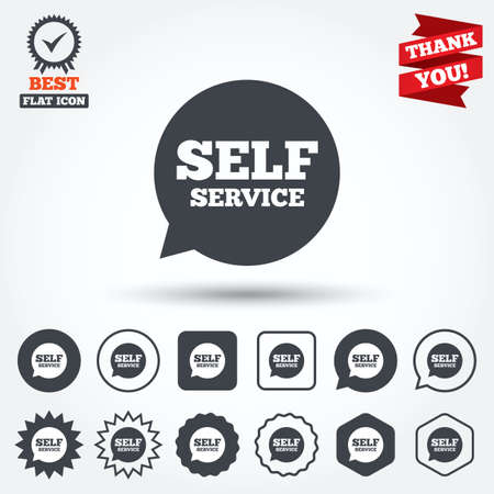 maintenance symbol: Self service sign icon. Maintenance symbol in speech bubble. Circle, star, speech bubble and square buttons. Award medal with check mark. Thank you. Vector