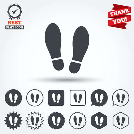 Imprint soles shoes sign icon. Shoe print symbol. Circle, star, speech bubble and square buttons. Award medal with check mark. Thank you ribbon. Vector