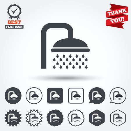 douche: Shower sign icon. Douche with water drops symbol. Circle, star, speech bubble and square buttons. Award medal with check mark. Thank you ribbon. Vector