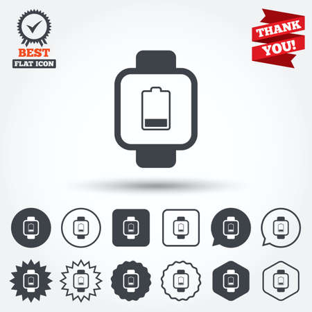 low battery: Smart watch sign icon. Wrist digital watch. Low battery energy symbol. Circle, star, speech bubble and square buttons. Award medal with check mark. Thank you ribbon. Vector