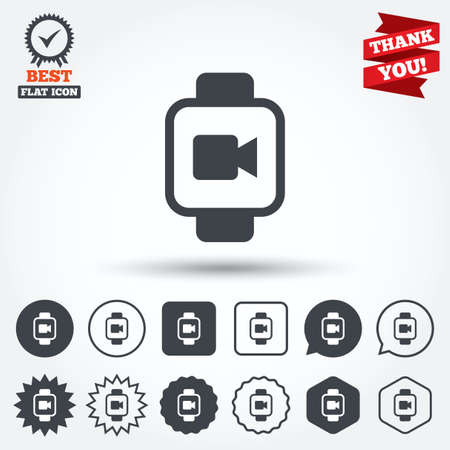 watch video: Smart watch sign icon. Wrist digital watch. Video camera symbol. Circle, star, speech bubble and square buttons. Award medal with check mark. Thank you ribbon. Vector