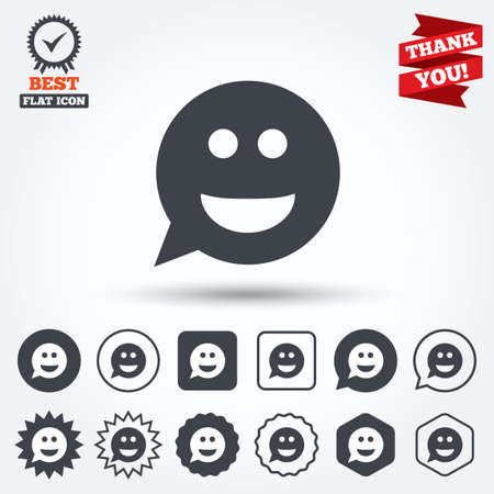 smile face: Smile face sign icon. Happy smiley chat symbol. Speech bubble. Circle, star, speech bubble and square buttons. Award medal with check mark. Thank you ribbon. Vector Illustration