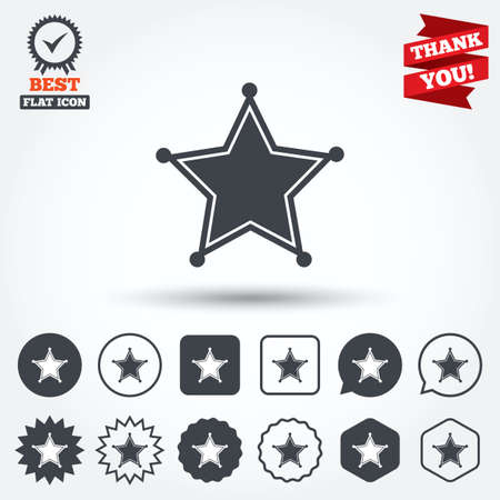 warrant: Star Sheriff sign icon. Police button. Sheriff symbol. Circle, star, speech bubble and square buttons. Award medal with check mark. Thank you ribbon. Vector