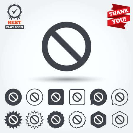 Stopbord icoon. Verbod symbool. Geen teken. Cirkel, ster, tekstballon en vierkante knoppen. Award medaille met vinkje. Dank je lint. Vector