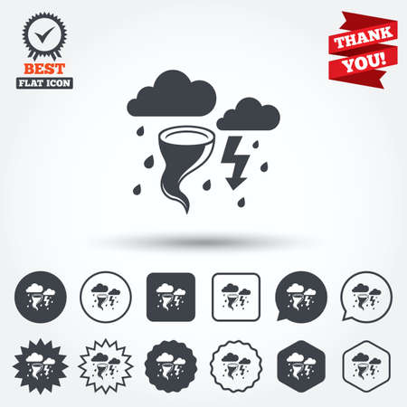 gale: Storm bad weather sign icon. Clouds with thunderstorm. Gale hurricane symbol. Destruction and disaster from wind. Insurance symbol. Circle, star, speech bubble and square buttons. Award medal with check mark. Thank you ribbon. Vector Illustration