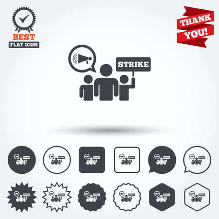 activists: Strike sign icon. Group of people symbol. Industrial action. Holding protest banner and megaphone. Circle, star, speech bubble and square buttons. Award medal with check mark. Thank you ribbon. Vector Illustration