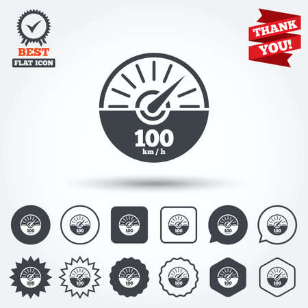km: Tachometer sign icon. 100 km per hour revolution-counter symbol. Car speedometer performance. Circle, star, speech bubble and square buttons. Award medal with check mark. Thank you. Vector Illustration