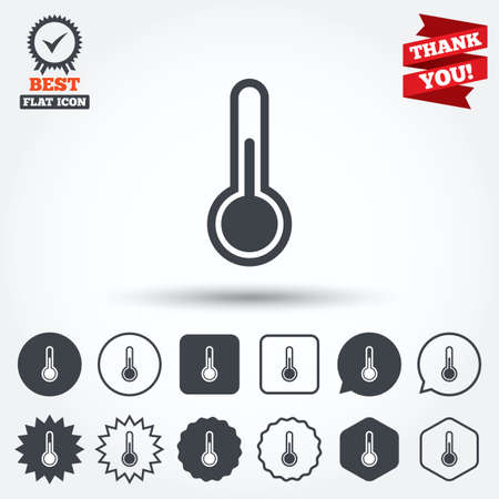 hotness: Thermometer sign icon. Temperature symbol. Circle, star, speech bubble and square buttons. Award medal with check mark. Thank you. Vector Illustration