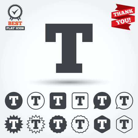 t square: Text edit sign icon. Letter T button. Circle, star, speech bubble and square buttons. Award medal with check mark. Thank you. Vector Illustration