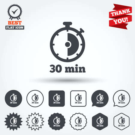 min: Timer sign icon. 30 minutes stopwatch symbol. Circle, star, speech bubble and square buttons. Award medal with check mark. Thank you. Vector