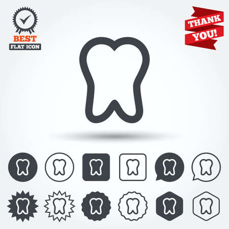stomatologist: Tooth sign icon. Dental care symbol. Circle, star, speech bubble and square buttons. Award medal with check mark. Thank you. Vector