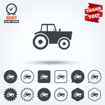 tractor sign: Tractor sign icon. Agricultural industry symbol. Circle, star, speech bubble and square buttons. Award medal with check mark. Thank you. Vector