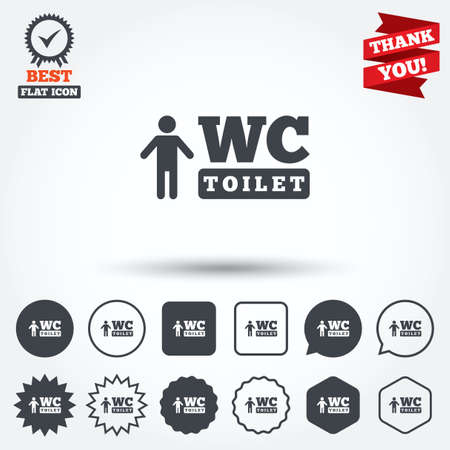 lavatory: WC men toilet sign icon. Restroom or lavatory symbol. Circle, star, speech bubble and square buttons. Award medal with check mark. Thank you. Vector Illustration