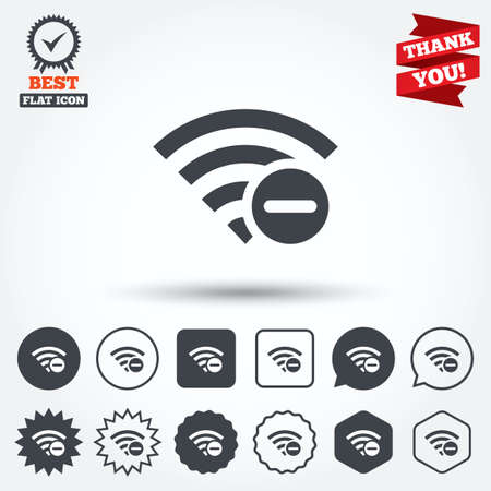 minus sign: Wifi minus sign. Delete Wi-fi symbol. Wireless Network icon. Wifi zone. Circle, star, speech bubble and square buttons. Award medal with check mark. Thank you. Vector Illustration
