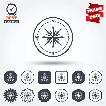 old compass: Compass sign icon. Windrose navigation symbol. Circle, star, speech bubble and square buttons. Award medal with check mark. Thank you. Vector
