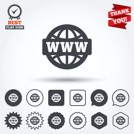www at sign: WWW sign icon. World wide web symbol. Globe. Circle, star, speech bubble and square buttons. Award medal with check mark. Thank you. Vector