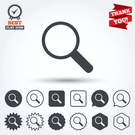 magnifying glass icon: Magnifier glass sign icon. Zoom tool button. Navigation search symbol. Circle, star, speech bubble and square buttons. Award medal with check mark. Thank you. Vector