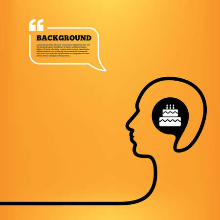 orange cake: Head think with speech bubble. Birthday cake sign icon. Cake with burning candles symbol. Orange background with quotes. Vector Illustration