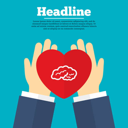 Helping hands with heart. Brain sign icon. Human intelligent smart mind. Charity symbol with headline. Vector